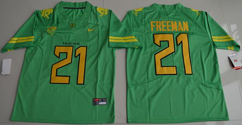 Ducks #21 Royce Freeman Apple Green Electric Lightning Limited Stitched NCAA Jersey
