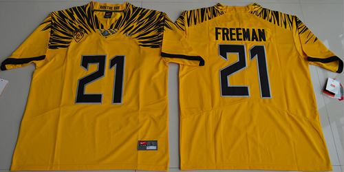 Ducks #21 Royce Freeman Yellow Limited Stitched NCAA Jersey