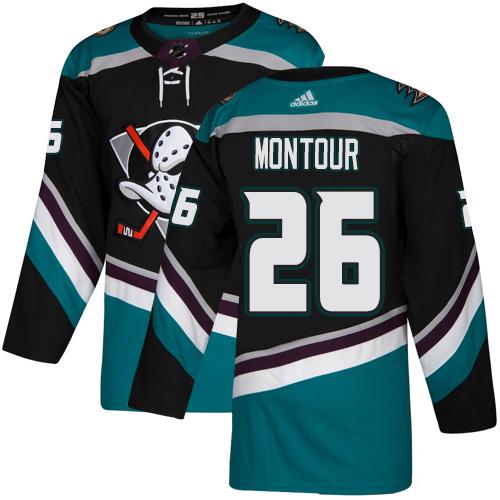 Ducks #26 Brandon Montour Black Teal Alternate Authentic Stitched Hockey Jersey