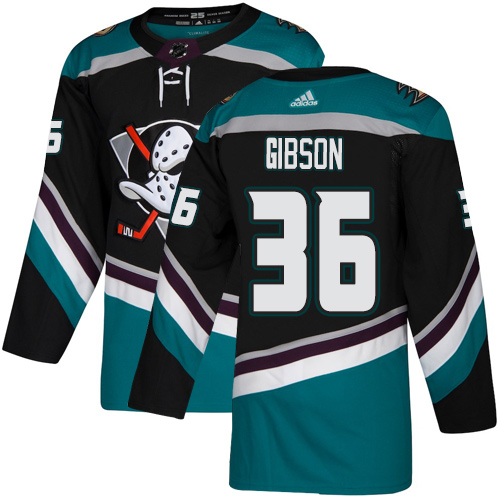 Ducks #36 John Gibson Black Teal Alternate Authentic Stitched Hockey Jersey