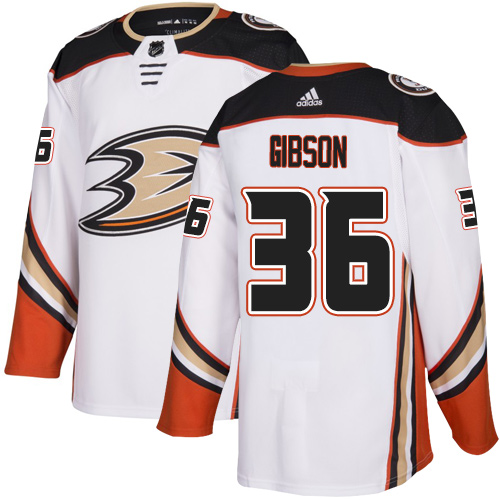 Ducks #36 John Gibson White Road Authentic Stitched Hockey Jersey