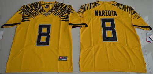 Ducks #8 Marcus Mariota Yellow Limited Stitched NCAA Jersey