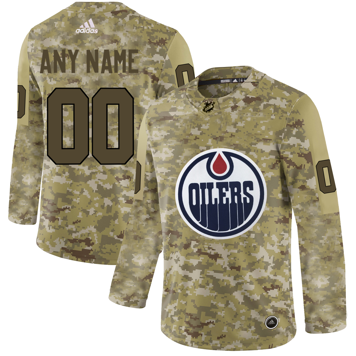 Edmonton Oilers Camo Men's Customized Adidas Jersey