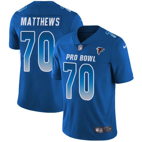 Falcons #70 Jake Matthews Royal Youth Stitched Football Limited NFC 2019 Pro Bowl Jersey