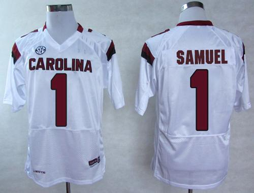 Fighting Gamecocks #1 Deebo Samuel White SEC Patch Stitched NCAA Jersey
