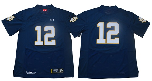 Fighting Irish #12 Ian Book Navy Blue Limited Stitched NCAA Jersey