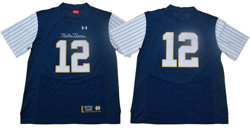 Fighting Irish #12 Ian Book Navy Strip Limited Shamrock Series Stitched NCAA Jersey