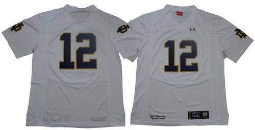 Fighting Irish #12 Ian Book White Limited Stitched NCAA Jersey