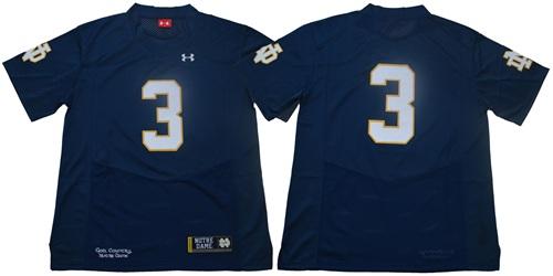 Fighting Irish #3 Joe Montana Navy Blue Limited Stitched NCAA Jersey