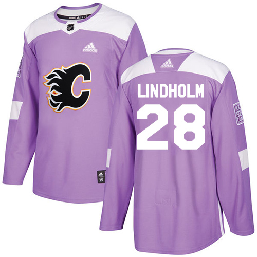 Flames #28 Elias Lindholm Purple Authentic Fights Cancer Stitched Hockey Jersey
