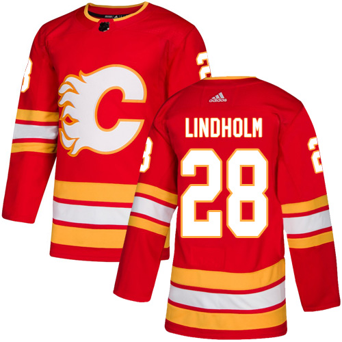 Flames #28 Elias Lindholm Red Alternate Authentic Stitched Hockey Jersey