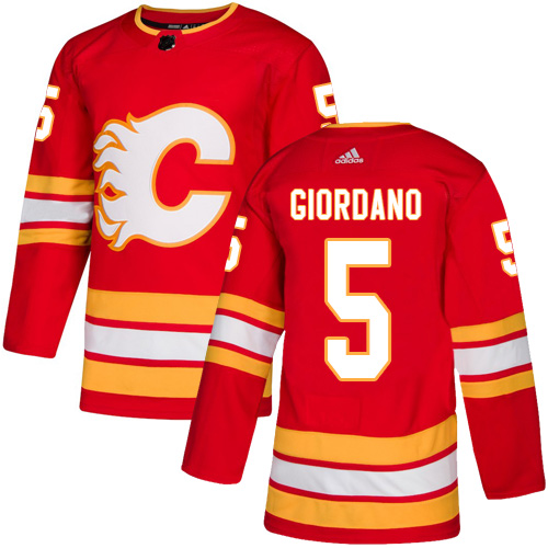 Flames #5 Mark Giordano Red Alternate Authentic Stitched Hockey Jersey