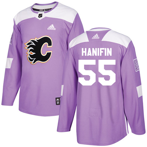 Flames #55 Noah Hanifin Purple Authentic Fights Cancer Stitched Hockey Jersey