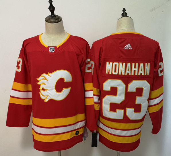 Flames 23 Sean Monahan Red Adidas Jersey