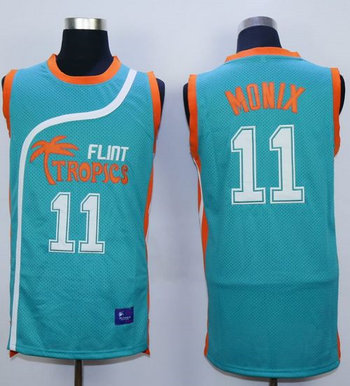 Flint Tropics #11 Ed Monix Blue Semi-Pro Movie Stitched Basketball Jersey