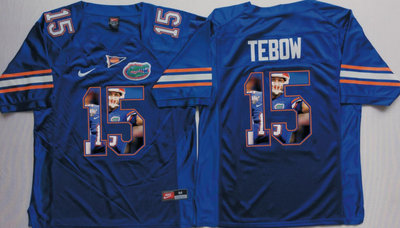 Florida Gators 15 Tim Tebow Blue Portrait Number College Jersey
