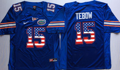 Florida Gators 15 Tim Tebow Blue USA Flag College Jersey