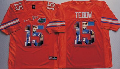 Florida Gators 15 Tim Tebow Orange Portrait Number College Jersey