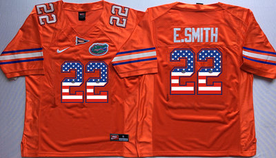 Florida Gators 22 Emmitt Smith Orange USA Flag College Jersey