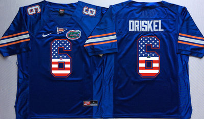 Florida Gators 6 Jeff Driskel Blue USA Flag College Jersey