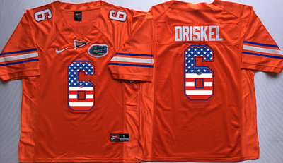 Florida Gators 6 Jeff Driskel Orange USA Flag College Jersey