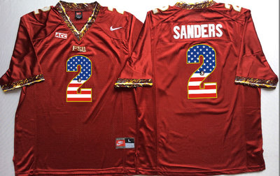 Florida State Seminoles 2 Deion Sanders Red USA Flag College Jersey