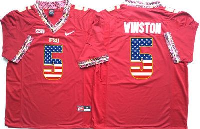 Florida State Seminoles 5 Jameis Winston Red USA Flag College Jersey