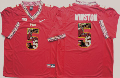 Florida State Seminoles Jameis Winston Red Portrait Number College Jersey