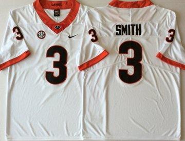 Georgia Bulldogs 3 Roquan Smith White College Football Jersey