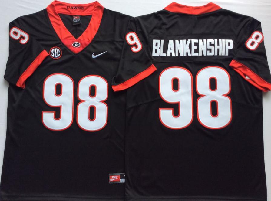 Georgia Bulldogs 98 Rodrigo Blankenship Black Nike College Football Jersey