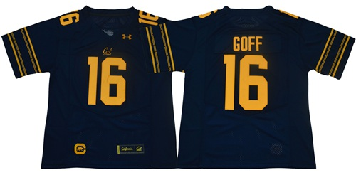 Golden Bears #16 Jared Goff Navy Blue Under Armour Premier Stitched NCAA Jersey