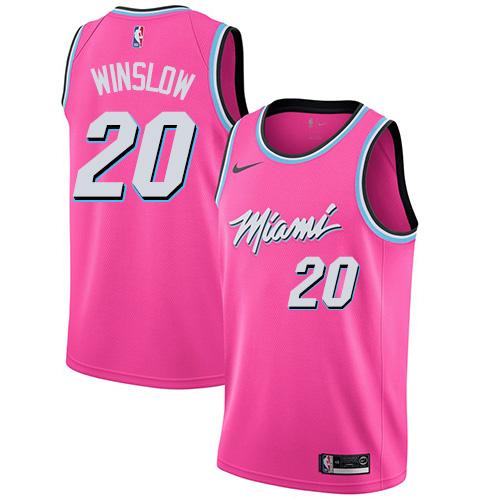 Heat #20 Justise Winslow Pink Basketball Swingman Earned Edition Jersey