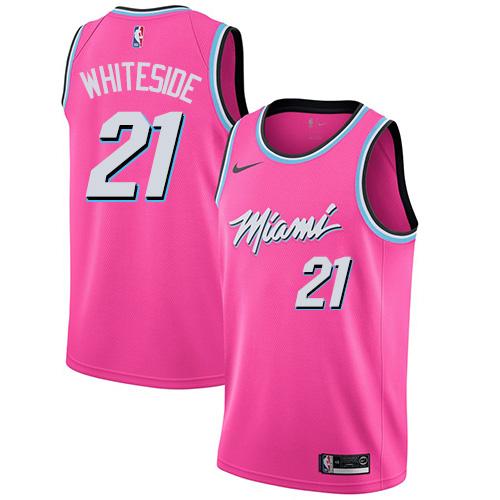 Heat #21 Hassan Whiteside Pink Basketball Swingman Earned Edition Jersey