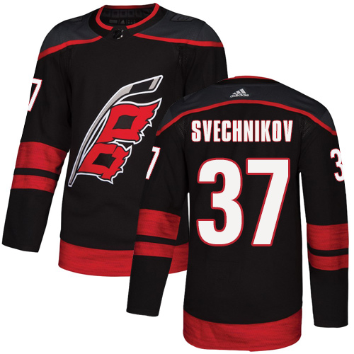 Hurricanes #37 Andrei Svechnikov Black Alternate Authentic Stitched Hockey Jersey