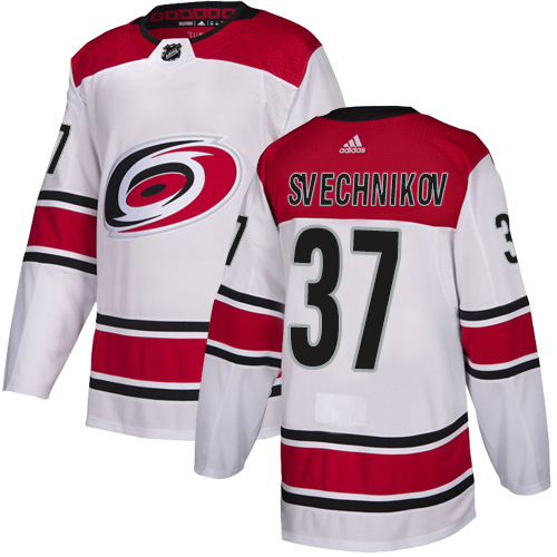 Hurricanes #37 Andrei Svechnikov White Road Authentic Stitched Hockey Jersey
