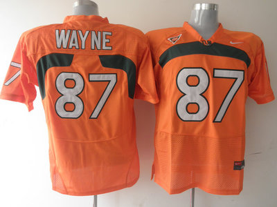 Hurricanes #87 Reggie Wayne Orange Stitched NCAA Jerseys