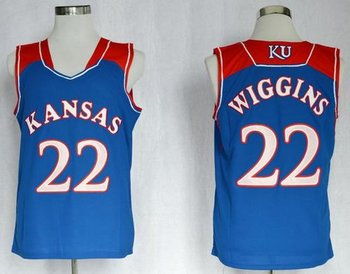 Kansas Jayhawks #22 Andrew Wiggins Blue Basketball Stitched NCAA Jersey