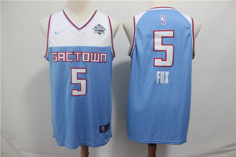 Kings 5 De'Aaron Fox Light Blue City Edition Nike Swingman Jersey