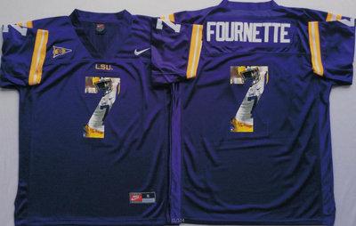 LSU Tigers 7 Leonard Fournette Purple Portrait Number College Jersey