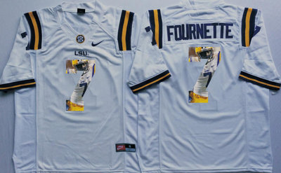 LSU Tigers 7 Leonard Fournette White Portrait Number College Jersey