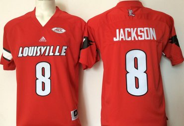 Louisville Cardinals 8 Lamar Jackson Red College Football Jersey