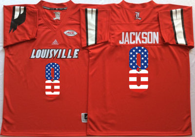 Louisville Cardinals 8 Lamar Jackson Red USA Flag College Jersey