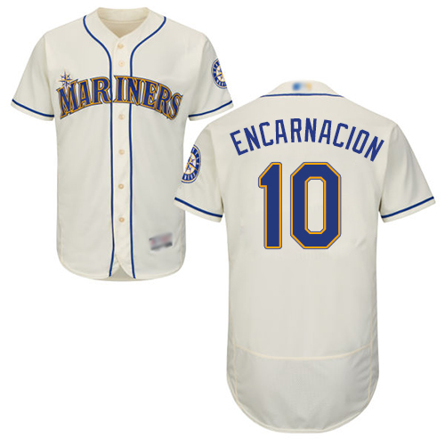 Mariners #10 Edwin Encarnacion Cream Flexbase Authentic Collection Stitched Baseball Jersey