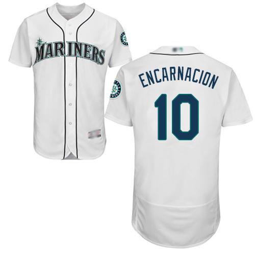 Mariners #10 Edwin Encarnacion White Flexbase Authentic Collection Stitched Baseball Jersey