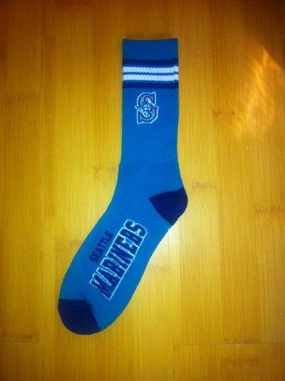 Mariners Team Logo Teal Blue MLB Socks