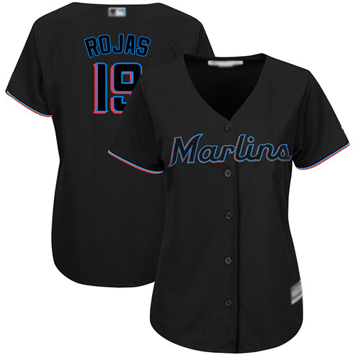 Marlins #19 Miguel Rojas Black Alternate Women's Stitched Baseball Jersey