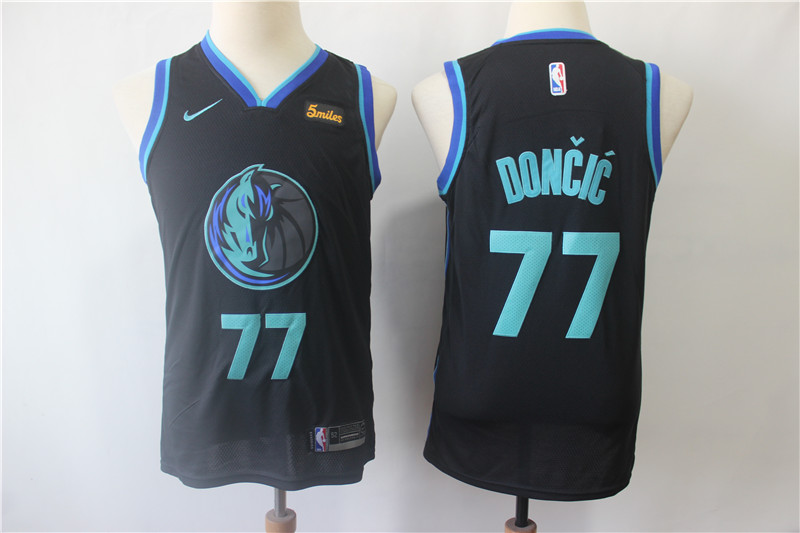 Mavericks 77 Luka Doncic Black Youth City Edition Nike Swingman Jersey