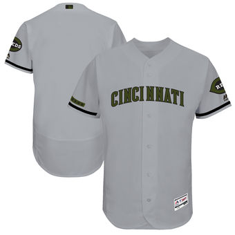Men's Cincinnati Reds Majestic Gray 2018 Memorial Day Authentic Collection Flex Base Team Custom Jersey