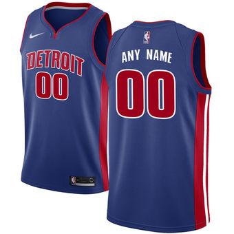 Men's Detroit Pistons Nike Blue Swingman Custom Icon Edition Jersey - Icon Edition