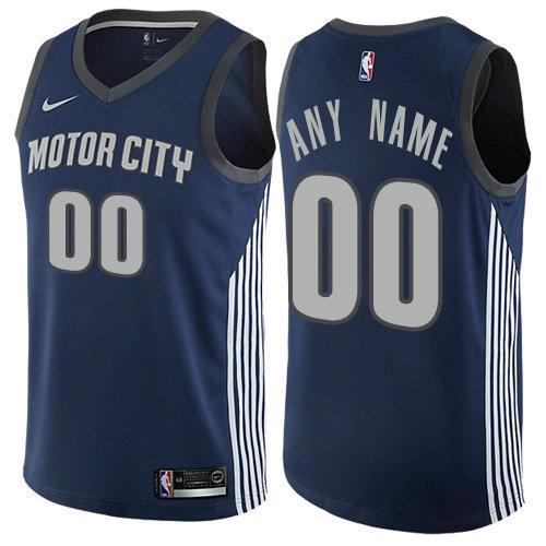 Men's Nike Detroit Pistons Customized Authentic Navy Blue NBA City Edition Jersey
